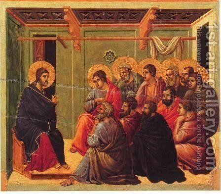 Christ Taking Leave of the Apostles 1308-11 by Duccio Di Buoninsegna - Reproduction Oil Painting