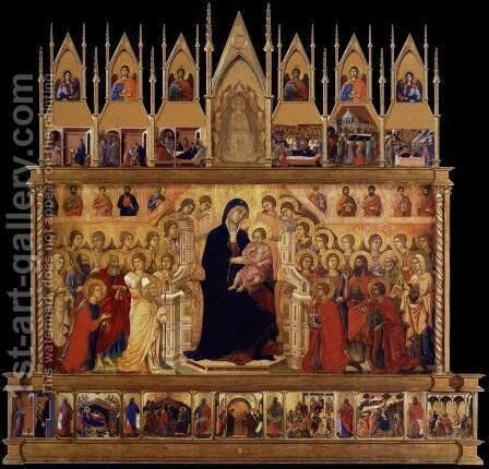Conjectural reconstrruction of the Maesta (front) by Duccio Di Buoninsegna - Reproduction Oil Painting