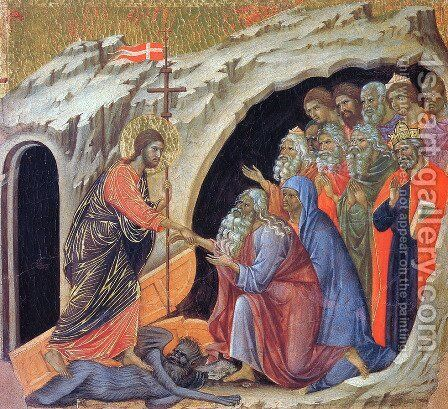 Descent to Hell 1308-11 by Duccio Di Buoninsegna - Reproduction Oil Painting