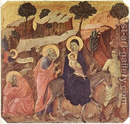 Flight into Egypt 1308-11 by Duccio Di Buoninsegna - Reproduction Oil Painting