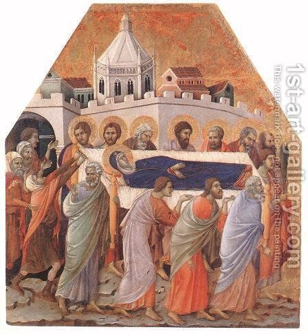 Funeral 1308-11 by Duccio Di Buoninsegna - Reproduction Oil Painting