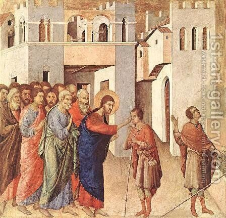 Healing of the Blind Man 1308-11 by Duccio Di Buoninsegna - Reproduction Oil Painting