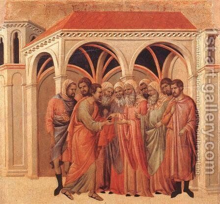 Pact of Judas 1308-11 by Duccio Di Buoninsegna - Reproduction Oil Painting