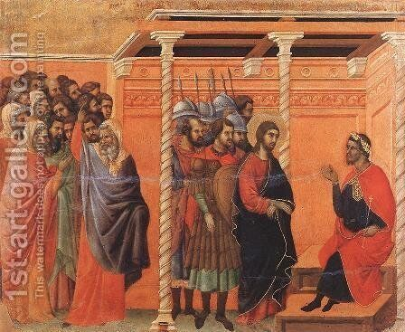 Pilate's First Interrogation of Christ 1308-11 by Duccio Di Buoninsegna - Reproduction Oil Painting