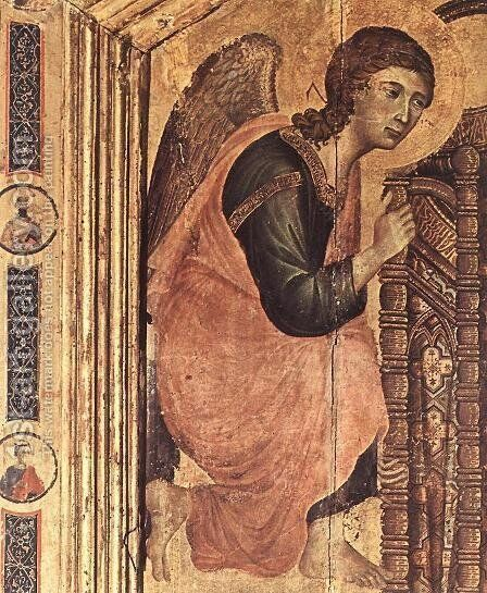 Rucellai Madonna (detail 2) 1285 by Duccio Di Buoninsegna - Reproduction Oil Painting