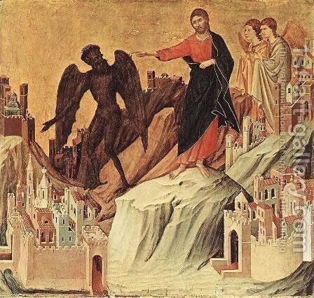 Temptation on the Mount (detail) 1308-11 by Duccio Di Buoninsegna - Reproduction Oil Painting