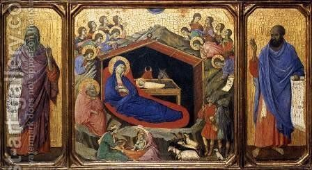 Nativity between Prophets Isaiah and Ezekiel 1308-11 by Duccio Di Buoninsegna - Reproduction Oil Painting
