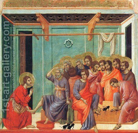 Washing of the Feet 1308-11 by Duccio Di Buoninsegna - Reproduction Oil Painting