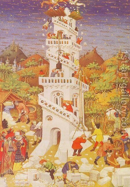 The Building of the Tower of Babel 1424 by Master of the Duke of Bedford - Reproduction Oil Painting