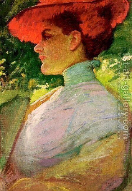 Lady with a Red Hat by Frank Duveneck - Reproduction Oil Painting