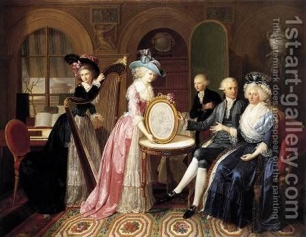 Portrait of the Villers Family 1790 by Jan Bernard Duvivier - Reproduction Oil Painting