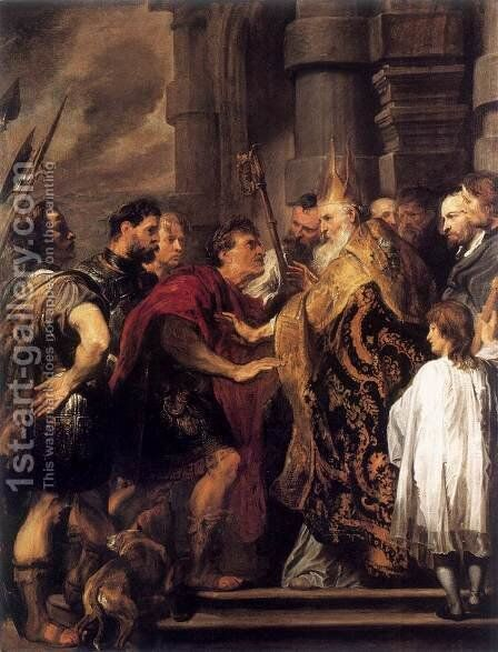 Emperor Theodosius Forbidden by St Ambrose To Enter Milan Cathedral 1619-20 by Sir Anthony Van Dyck - Reproduction Oil Painting
