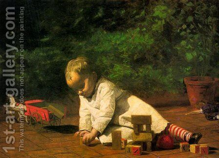 Baby at Play 1876 by Thomas Cowperthwait Eakins - Reproduction Oil Painting