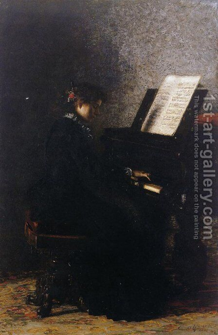 Elizabeth at the Piano 1875 by Thomas Cowperthwait Eakins - Reproduction Oil Painting