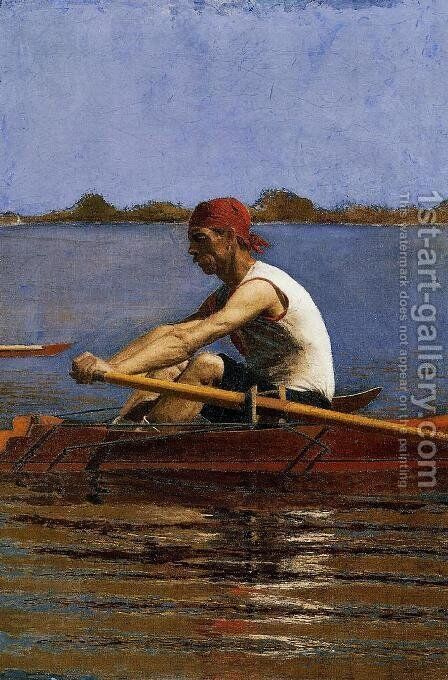 John Biglin in a Single Scull by Thomas Cowperthwait Eakins - Reproduction Oil Painting