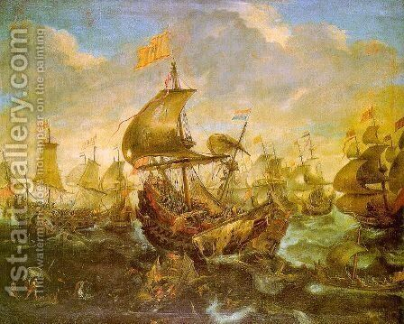 The Battle of the Spanish Fleet with Dutch Ships in May 1573 during the Siege of Haarlem by Andries Van Eertvelt - Reproduction Oil Painting