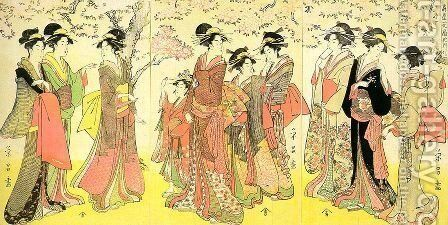 Hanogi from the Ogiya Establishment and Others, triptych, 1789-1801 by Chokosai Eisho - Reproduction Oil Painting