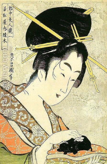 """Midoriki from the Wakamatsuya Establishment, from the series """"Contest of Beauties in the Pleasure District""""  1795-96 by Chokosai Eisho - Reproduction Oil Painting"""