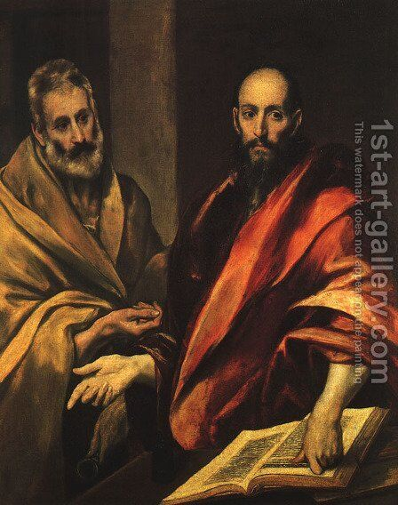 Apostles Peter and Paul 1592 by El Greco - Reproduction Oil Painting