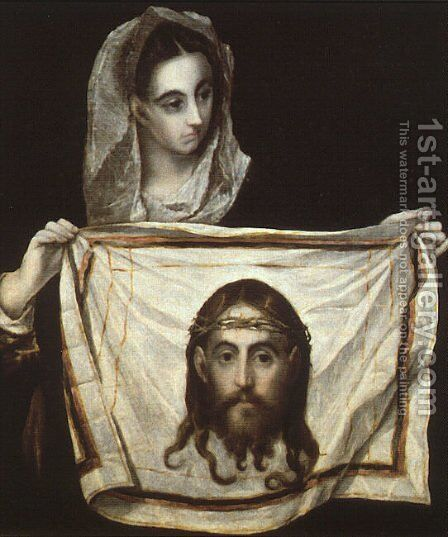 St Veronica Holding the Veil c. 1580 by El Greco - Reproduction Oil Painting