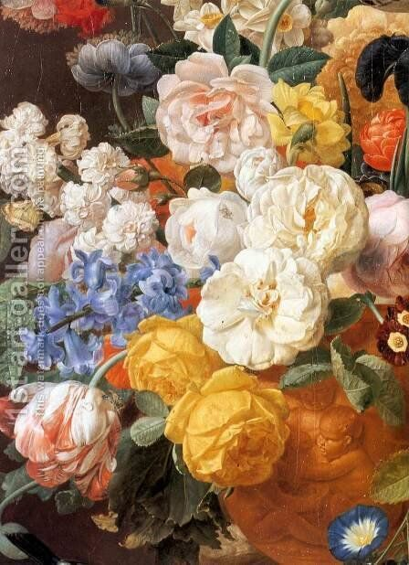 Bouquet of Flowers in a Sculpted Vase (detail) by Jan Frans Eliaerts - Reproduction Oil Painting