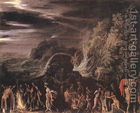 St Paul at Malta c. 1600 by Adam Elsheimer - Reproduction Oil Painting