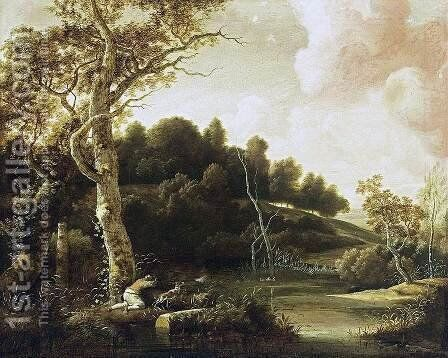River Landscape 1655-60 by Jacob Esselens - Reproduction Oil Painting