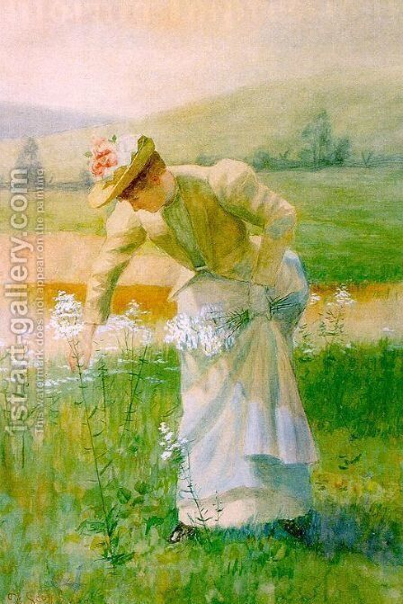 Picking Wildflowers by De Scott Evans - Reproduction Oil Painting