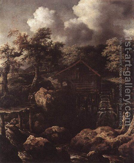 Forest Scene with Water-Mill c. 1650 by Allaert van Everdingen - Reproduction Oil Painting