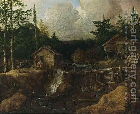 Scandinavian Wooded Landscape by Allaert van Everdingen - Reproduction Oil Painting