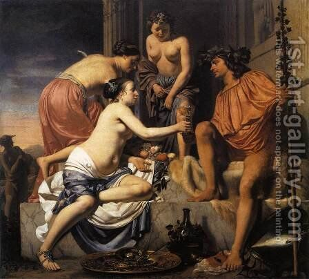 Nymphs Offering the Young Bacchus Wine, Fruit and Flowers  1670-78 by Caesar Van Everdingen - Reproduction Oil Painting