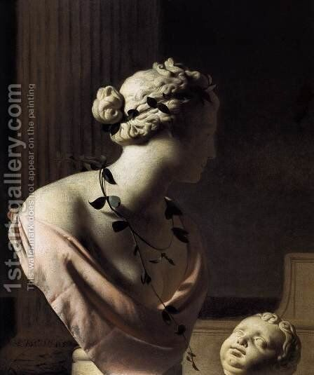 Still-Life with a Bust of Venus 1665 by Caesar Van Everdingen - Reproduction Oil Painting