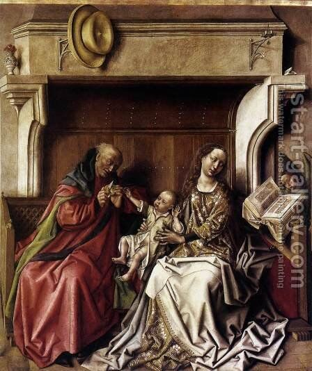 Holy Family 1440s by Barthelemy d' Eyck - Reproduction Oil Painting