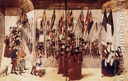 Presentation of Flags and Helms c. 1460 by Barthelemy d' Eyck - Reproduction Oil Painting