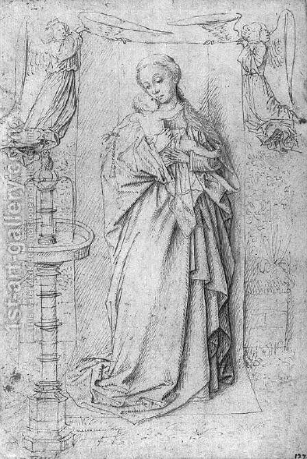 Copy drawing of Madonna by the Fountain by Jan Van Eyck - Reproduction Oil Painting