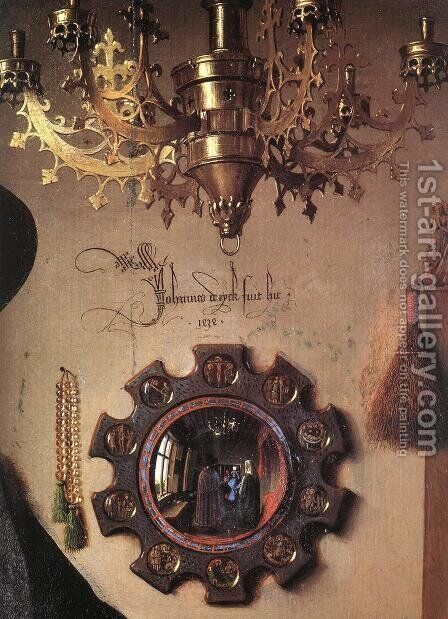 Portrait of Giovanni Arnolfini and his Wife (detail 3) 1434 by Jan Van Eyck - Reproduction Oil Painting
