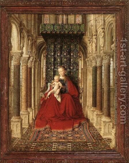 Small Triptych (central panel) c. 1437 by Jan Van Eyck - Reproduction Oil Painting