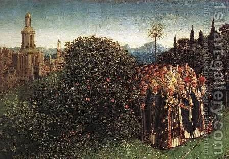 The Ghent Altarpiece- Adoration of the Lamb (detail 5) 1425-29 by Jan Van Eyck - Reproduction Oil Painting