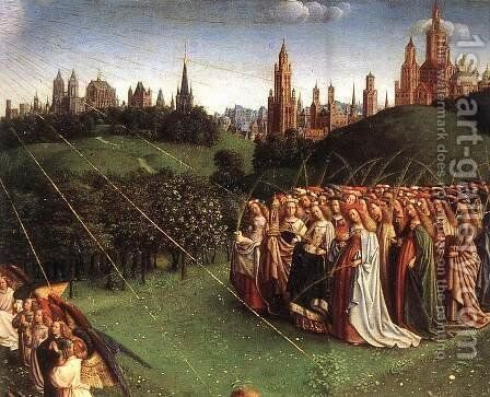 The Ghent Altarpiece- Adoration of the Lamb (detail 6) 1425-29 by Jan Van Eyck - Reproduction Oil Painting
