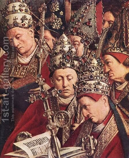 The Ghent Altarpiece- Adoration of the Lamb (detail 8) 1425-29 by Jan Van Eyck - Reproduction Oil Painting