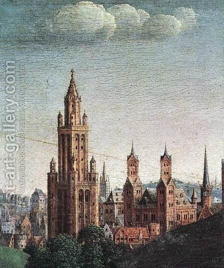 The Ghent Altarpiece- Adoration of the Lamb (detail 9) 1425-29 by Jan Van Eyck - Reproduction Oil Painting