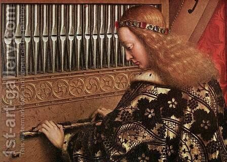 The Ghent Altarpiece- Angels Playing Music (detail 1) 1426-27 by Jan Van Eyck - Reproduction Oil Painting
