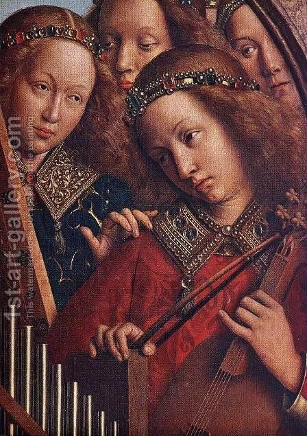 The Ghent Altarpiece- Angels Playing Music (detail 2) 1426-27 by Jan Van Eyck - Reproduction Oil Painting