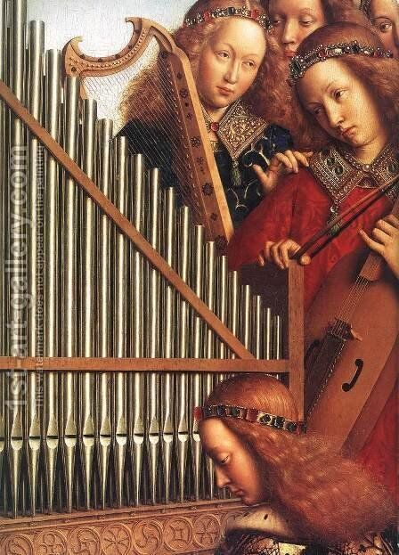 The Ghent Altarpiece- Angels Playing Music (detail 3) 1426-27 by Jan Van Eyck - Reproduction Oil Painting