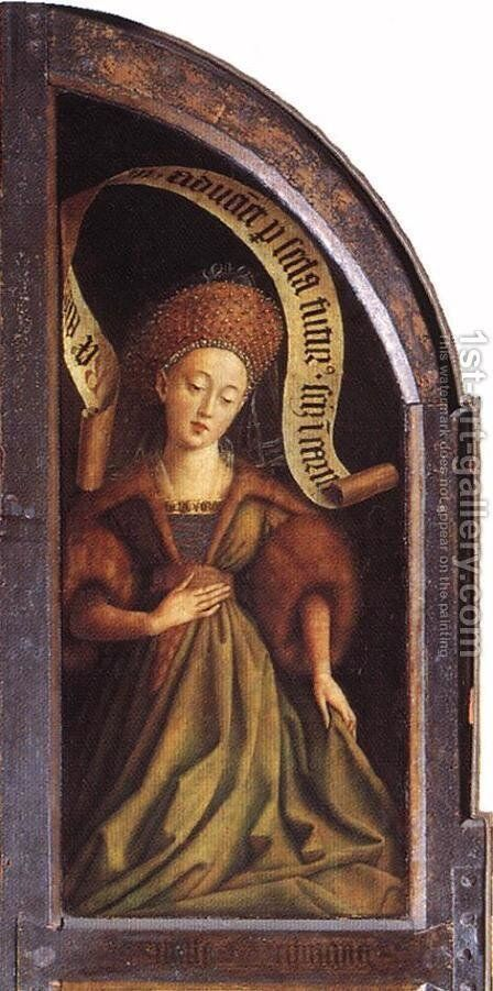The Ghent Altarpiece- Cumaean Sibyl 1432 by Jan Van Eyck - Reproduction Oil Painting