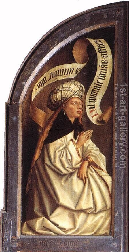 The Ghent Altarpiece- Erythraean Sibyl 1432 by Jan Van Eyck - Reproduction Oil Painting