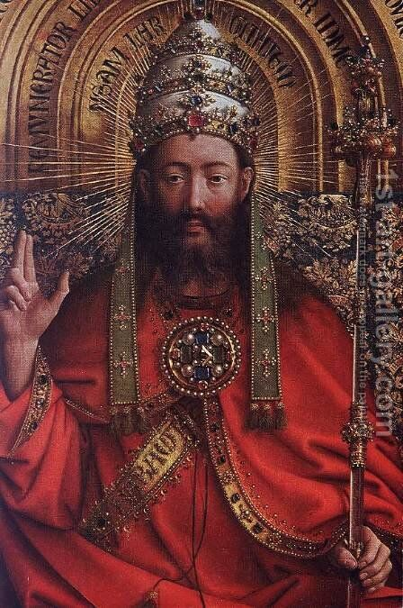 The Ghent Altarpiece- God Almighty (detail) 1426-27 by Jan Van Eyck - Reproduction Oil Painting