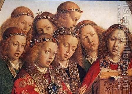 The Ghent Altarpiece- Singing Angels (detail 1) 1427-29 by Jan Van Eyck - Reproduction Oil Painting