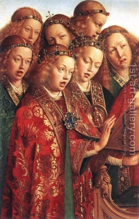 The Ghent Altarpiece- Singing Angels (detail 2) 1427-29 by Jan Van Eyck - Reproduction Oil Painting