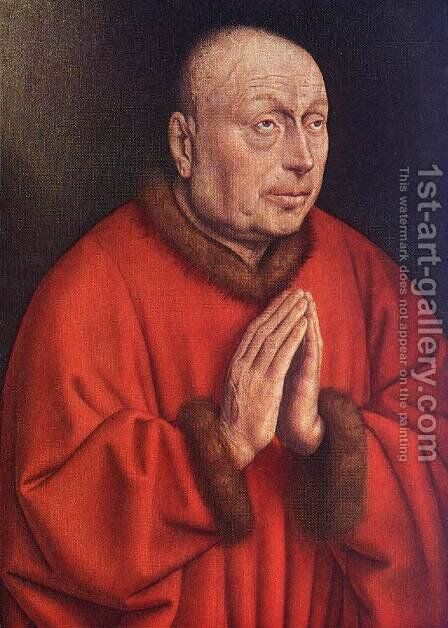 The Ghent Altarpiece- The Donor (detail) 1432 by Jan Van Eyck - Reproduction Oil Painting